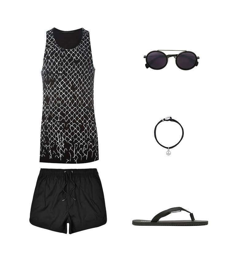BLACK BEACHWEAR WITH A TOUCH OF SNAKE PATTERN!