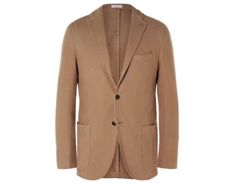 On EyeFitU BOGLIOLI Brown Slim-Fit Cotton-Canvas Blazer