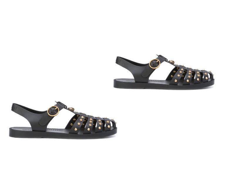 straped embelished gucci sandals