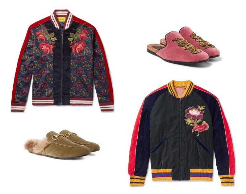 EXTRAORDINARY VELVET BOMBERS AND LOAFERS BY GUCCI